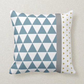 Coussin Triangles Bleu/Jaune/Gris クッション