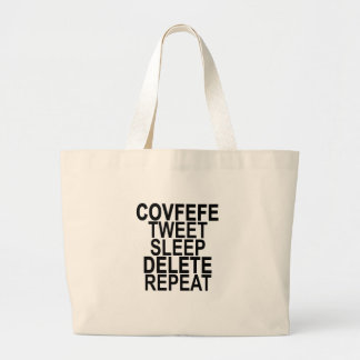 COVFEFEのさえずりの睡眠の削除の繰り返し。 ラージトートバッグ