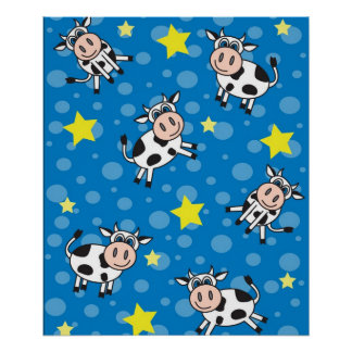 Cow Print -青かわいく幸せな氏 ポスター