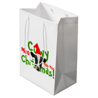 Cowyのクリスマスのおもしろいなサンタ牛 ミディアムペーパーバッグ