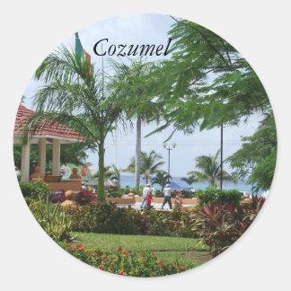 Cozumelの熱帯ヤシの木のステッカー ラウンドシール
