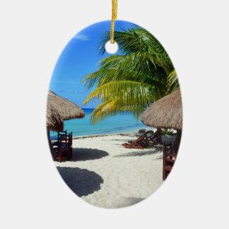 Cozumelメキシコのビーチ小屋のヤシの木のティール(緑がかった色)水Vaca セラミックオーナメント