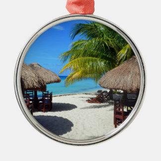 Cozumelメキシコのビーチ小屋のヤシの木のティール(緑がかった色)水Vaca メタルオーナメント