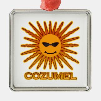 Cozumelメキシコ日曜日は直面します メタルオーナメント