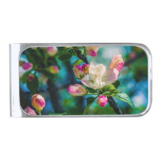 Crabappleの花および芽 銀色 マネークリップ