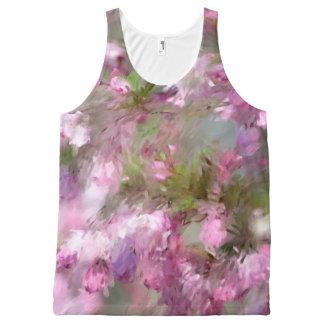 Crabappleのmpressionisticピンクの花 オールオーバープリントタンクトップ