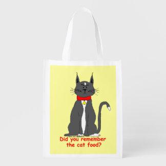 Crabbyタキシード猫の再使用可能な買い物袋! エコバッグ