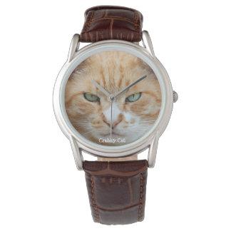 Crabby猫の革腕時計 腕時計