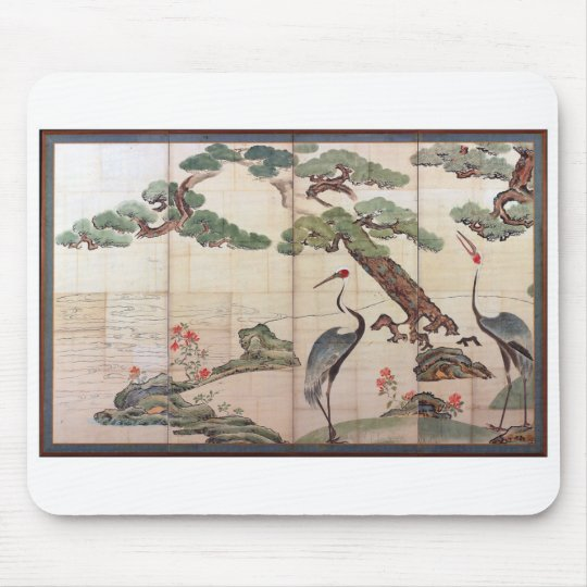 Cranes,Pines and Bamboo by Ogata Korin マウスパッド
