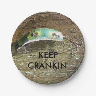 Crankinの古い魚釣りの魅惑を保って下さい ペーパープレート
