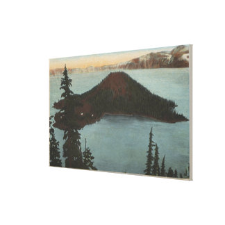 crater湖、オレゴン-魔法使いの島--の眺め#1 キャンバスプリント