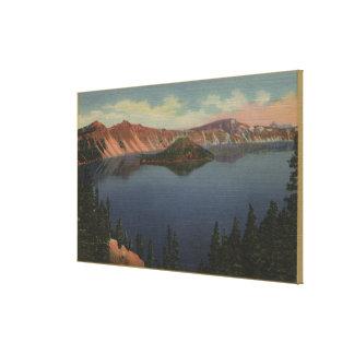 crater湖、オレゴン-魔法使いの島--の眺め#2 キャンバスプリント