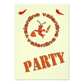 Crawfishのホットソースのバレンタインのパーティの招待状 カード