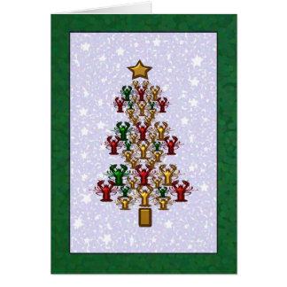 Crawfishのロブスターのクリスマスツリーの星(緑) カード