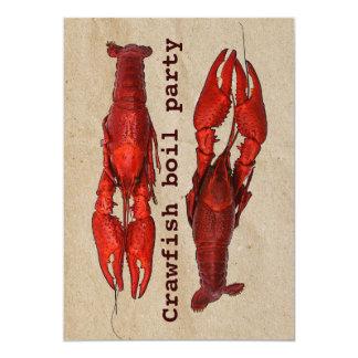 crawfishの沸騰夏のパーティの招待状のテンプレート カード