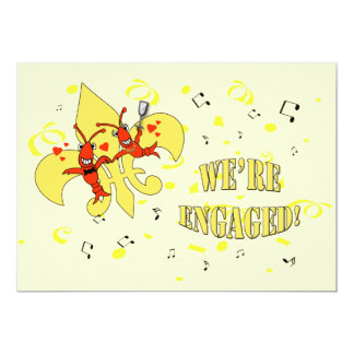 Crawfishの金ゴールドの(紋章の)フラ・ダ・リの婚約パーティ カード