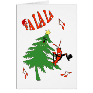 Crawfish/ロブスターが付いている歌うクリスマスツリー カード