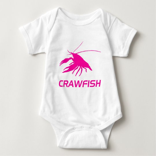crawfish's silhouette (Pink) ベビーボディスーツ