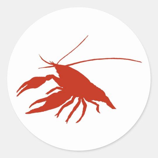 crawfish's silhouette (Red) ラウンドシール