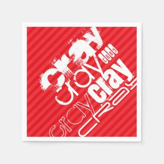 Cray; 深紅の赤のストライプ スタンダードカクテルナプキン