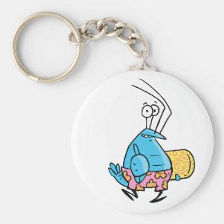 Crayfishのビーチの時間Keychainは振れます ベーシック丸型缶キーホルダー