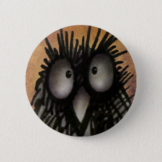 Crazy Funny Night Owl Art for Owl Lovers 5.7cm 丸型バッジ