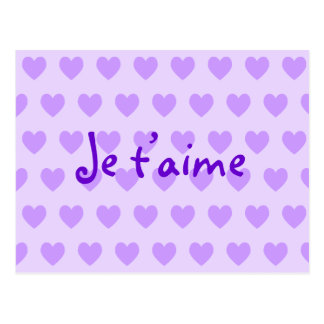 Create Your Own Je T'aime Purple Hearts ポストカード