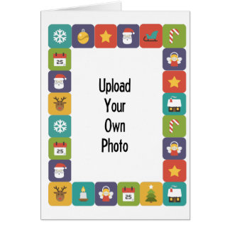 Create Your Own Photo Card Bright Christmas Border カード