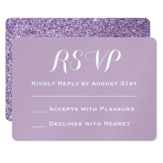 Create Your Own Purple Glitter Wedding RSVP カード
