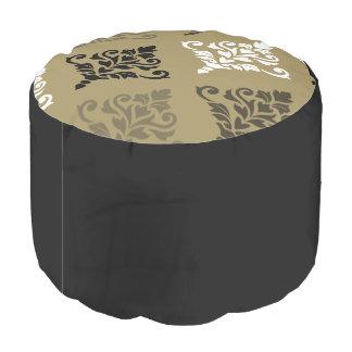 Crestaのダマスク織の芸術のIbの白黒は金ゴールドを青銅色にします プーフ
