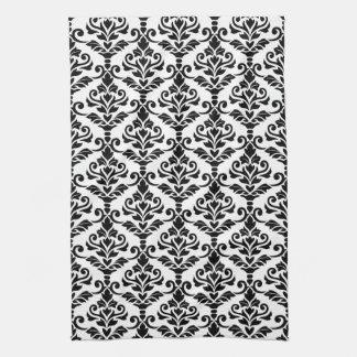 Crestaのダマスク織白の縦パターン黒 キッチンタオル