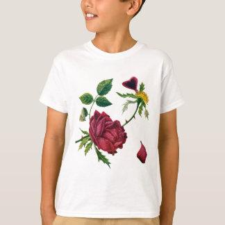 Crewelの刺繍でされる美しく赤いバラ Tシャツ