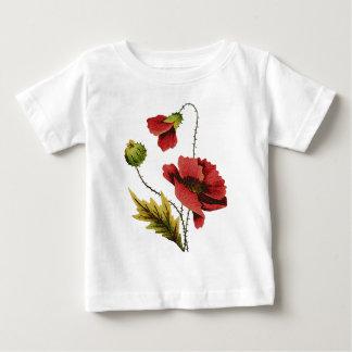 Crewelの刺繍の赤のケシ ベビーTシャツ