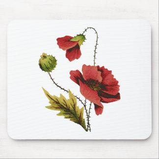 Crewelの刺繍の赤のケシ マウスパッド