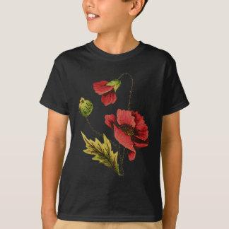 Crewelの刺繍の赤のケシ Tシャツ