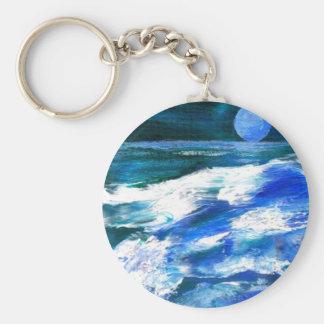 CricketDianeの海の芸術-月の歌の海の波 キーホルダー