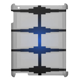 CricketDianeのiPadの場合灰色の青いレトロのモダンなDeco iPadケース