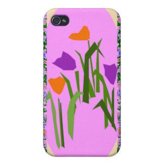 CricketDiane著モダンなピンクの花のボーダー iPhone 4 Case