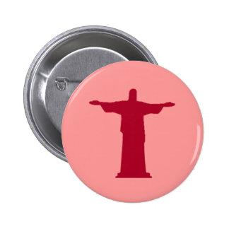 Cristo Redentorの~リオデジャネイロ。 ブラジル 5.7cm 丸型バッジ