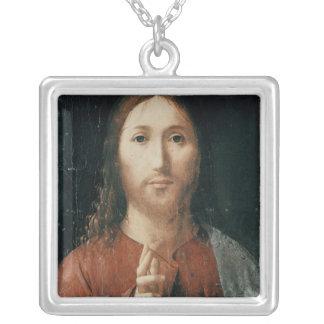 Cristo Salvator Mundi 1465年 シルバープレートネックレス