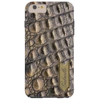 Crocodilの皮のカスタムなモノグラムのテンプレート Tough iPhone 6 Plus ケース