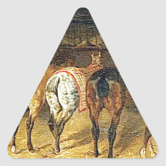 croupesとの後ろから見られる5頭の馬 三角形シール