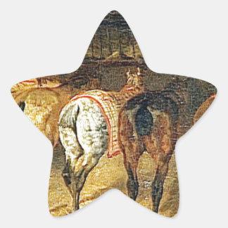 croupesとの後ろから見られる5頭の馬 星シール