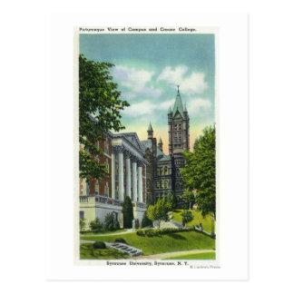Crouseの大学を示すシラキュースUのキャンパスの眺め はがき
