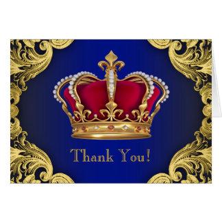 Crownロイヤルブルーの王子のサンキューカード カード