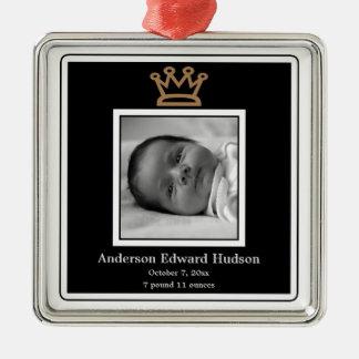 Crown王子の男の赤ちゃんの写真のオーナメント メタルオーナメント
