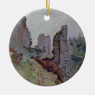Crozant 1894年の霧の台なし(キャンバスの油) 陶器製丸型オーナメント