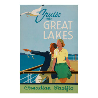 Cruise the Great Lakes Vintage Travel Poster ポスター