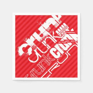 Crunk; 深紅の赤のストライプ スタンダードカクテルナプキン