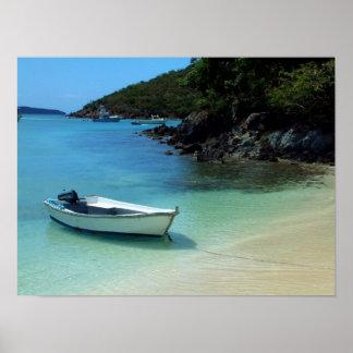Cruz湾のボート ポスター